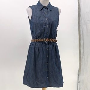 Love reign denim shirt dress button up belted L